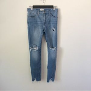 """Madewell 9"""" High-Rise Distressed Skinny Jeans Sz29"""